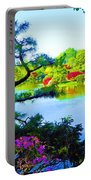 Japanese Garden In Spring Portable Battery Charger
