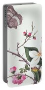 Japonica Magnolia And Butterflies Portable Battery Charger