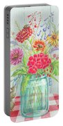 Jar Of Flowers Portable Battery Charger
