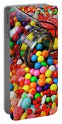 Jar Spilling Bubblegum With Candy Portable Battery Charger by Garry Gay