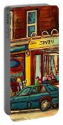 Java U Coffee Shop Montreal Painting By Streetscene Specialist Artist Carole Spandau Portable Battery Charger