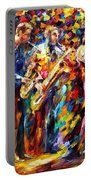 Jazz Band - Palette Knife Oil Painting On Canvas By Leonid Afremov Portable Battery Charger
