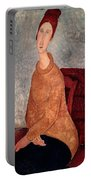 Jeanne Hebuterne In A Yellow Jumper Portable Battery Charger by Amedeo Modigliani