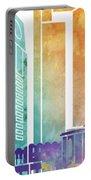 Jeddah Landmarks Watercolor Poster Portable Battery Charger