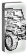 Jeep Wrangler Rubicon Illustration Portable Battery Charger