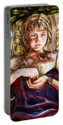 Girl And Bird Painting Portable Battery Charger