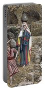 Jesus And His Mother At The Fountain Portable Battery Charger by Tissot