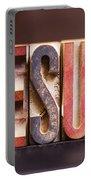 Jesus - Antique Letterpress Letters Portable Battery Charger