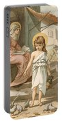 Jesus As A Boy Playing With Doves Portable Battery Charger by John Lawson