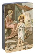 Jesus As A Boy Playing With Doves Portable Battery Charger