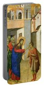 Jesus Opens The Eyes Of A Man Born Blind Portable Battery Charger by Duccio di Buoninsegna