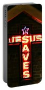 Jesus Saves In Neon Lights Portable Battery Charger