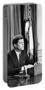 Jfk Addresses The Nation  Portable Battery Charger by War Is Hell Store