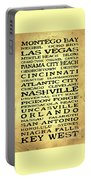Jimmy Buffett Margaritaville Locations Black Font On Yellow Brown Texture Portable Battery Charger