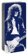 Jimmy Page In Blue Portrait Portable Battery Charger