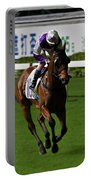 Jockey In Purple And White Riding Racehorse Portable Battery Charger