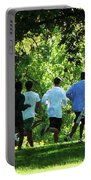 Joggers In The Park Portable Battery Charger by Susan Savad