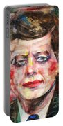 John F. Kennedy - Watercolor Portrait.3 Portable Battery Charger