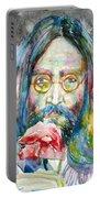John Lennon - Watercolor Portrait.9 Portable Battery Charger