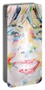 Joni Mitchell - Watercolor Portrait Portable Battery Charger
