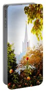Jordan River Temple Rose Portable Battery Charger by La Rae  Roberts
