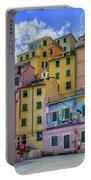 Joy In Colorful House In Piazza Di Riomaggiore, Cinque Terre, Italy Portable Battery Charger