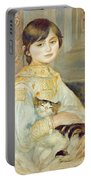 Julie Manet With Cat Portable Battery Charger by Pierre Auguste Renoir