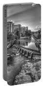 Just Before Sunset B W Reedy River Falls Park Greenville South Carolina Art Portable Battery Charger