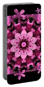Kaleidoscope 1 With Black Flower Framing Portable Battery Charger