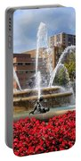 Kansas City Fountain Ablaze In Crimson Portable Battery Charger