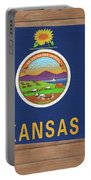 Kansas Rustic Map On Wood Portable Battery Charger