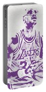 Kareem Abdul Jabbar Los Angeles Lakers Pixel Art Portable Battery Charger