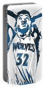Karl Anthony Towns Minnesota Timberwolves Pixel Art Portable Battery Charger
