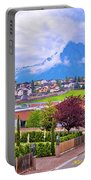 Kastelruth And Schlern Peak In Alps Landscape View Portable Battery Charger