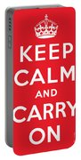 Keep Calm And Carry On Portable Battery Charger by English School