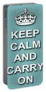 Keep Calm And Carry On Poster Print Teal Background Portable Battery Charger
