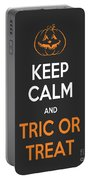 Keep Calm And Trick Or Treat Halloween Sign Portable Battery Charger