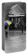 Kendall Square Rainy Day Cambridge Ma Blue And Yellow Portable Battery Charger
