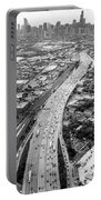 Kennedy Expressway And Chicago Skyline Portable Battery Charger