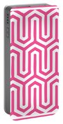 Key Maze With Border In French Pink Portable Battery Charger
