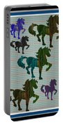 Kids Fun Gallery Horse Prancing Art Made Of Jungle Green Wild Colors Portable Battery Charger