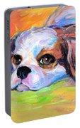 King Charles Cavalier Spaniel Dog Painting Portable Battery Charger