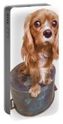 King Charles Spaniel Puppy Portable Battery Charger by Edward Fielding