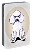 Kiniart White Poodle Portable Battery Charger