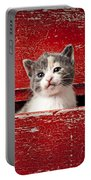 Kitten In Red Drawer Portable Battery Charger by Garry Gay