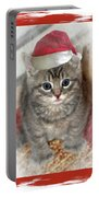 Kitten Playing Santa  Portable Battery Charger