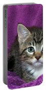Kitten, Purr-fect In Purple Portable Battery Charger