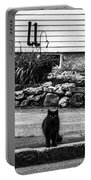Kitty Across The Street Black And White Portable Battery Charger