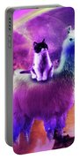 Kitty Cat Riding On Rainbow Llama In Space Portable Battery Charger