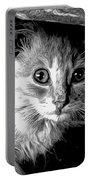 Kitty In Black White Portable Battery Charger